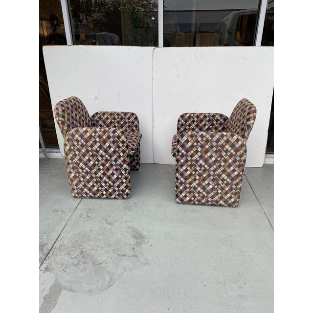 Pair of Vintage Lounge Chairs in Geometric Fabric. For Sale - Image 4 of 13