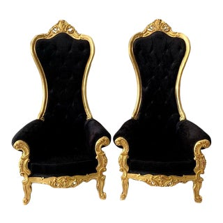 Black Velvet Baroque Style Tufted Throne Chairs- A Pair For Sale