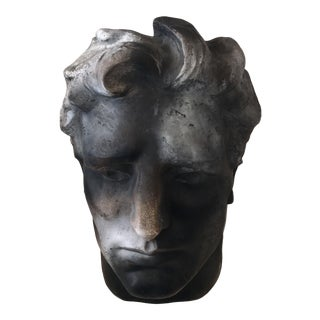 Modern Fiberglass Head in Charcoal Finish Bust For Sale