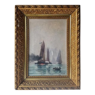 French Antique Oil Painting in Gold Frame For Sale