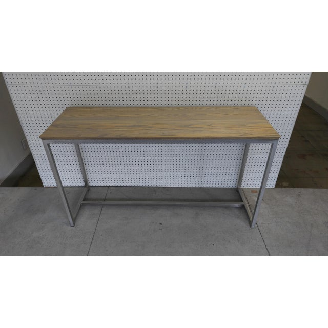 Modern Oak Wood Top & Metal Base Console For Sale - Image 3 of 7