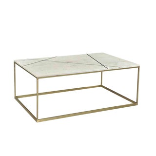Ashbury Marble & Brass Coffee Table For Sale