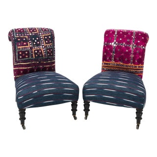Antique Slipper Chair in Antique Indian Textiles For Sale