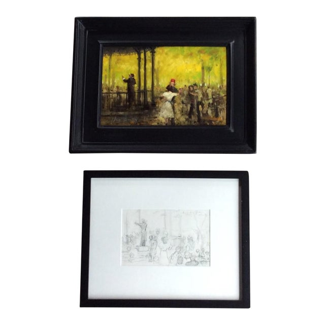 French Impressionist Style Oil Painting & Drawing - A Pair For Sale