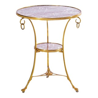 20th C. French Dore Bronze and Marble Table For Sale
