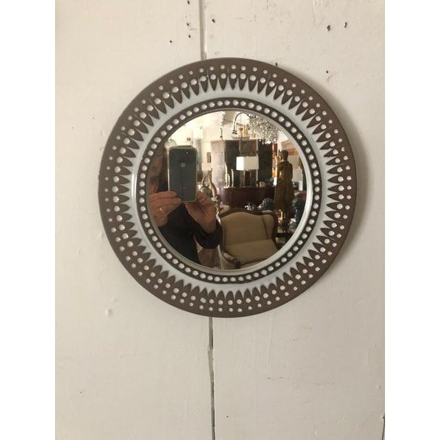 Cream Mid Century Modern Danish Round Ceramic Wall Mirror For Sale - Image 8 of 8