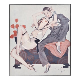 Matted Vintage Print-Art Deco Lovers,Sexy, Semi-Nude, Risque For Sale