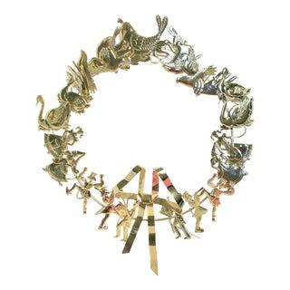 1980s Vintage Dresden Twelve Days of Christmas Brass Wreath For Sale