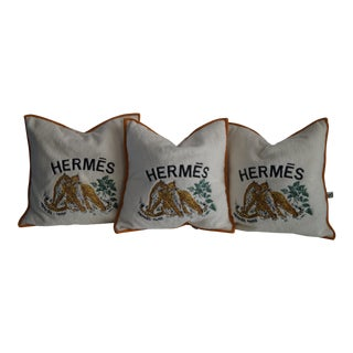 Hermes Cushion Covers With Tiger Embroidery - Set of 3 For Sale