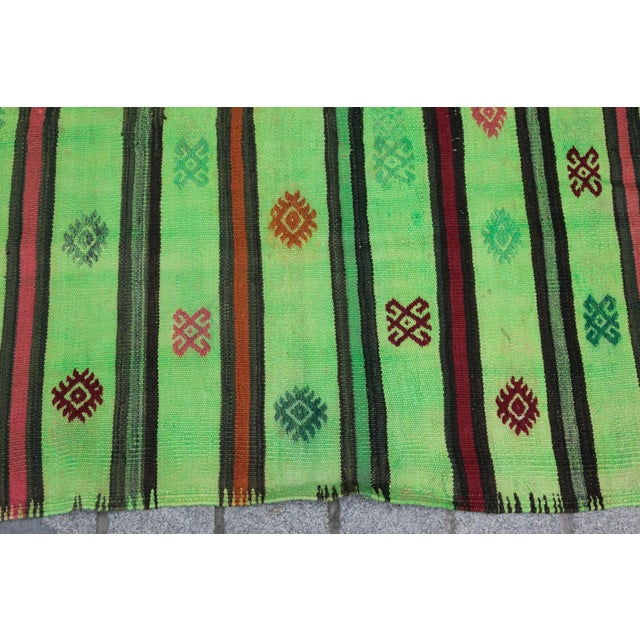 Turkish Overdyed Green Color Kilim - 7'4'' x 5'11'' For Sale - Image 9 of 11