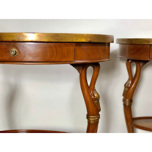 Giltwood Pair of French Swan Side Tables For Sale - Image 7 of 8