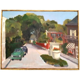 Framed Impressionistic Street Painting For Sale