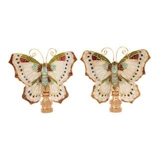 Cloisonné Butterfly Lamp Finials - a Pair For Sale
