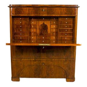19th-Century Biedermeier Secretary Desk Veneered with Mahogany For Sale