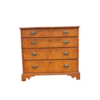 Tiger Maple Four Drawer Dresser For Sale