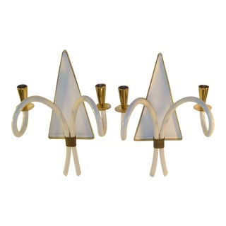 Pair of 1940s Sconces Brass & Galalith French Appliques For Sale
