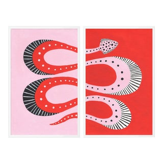 Cherry Pop Diptych by Willa Heart in White Frame, Small Art Print For Sale