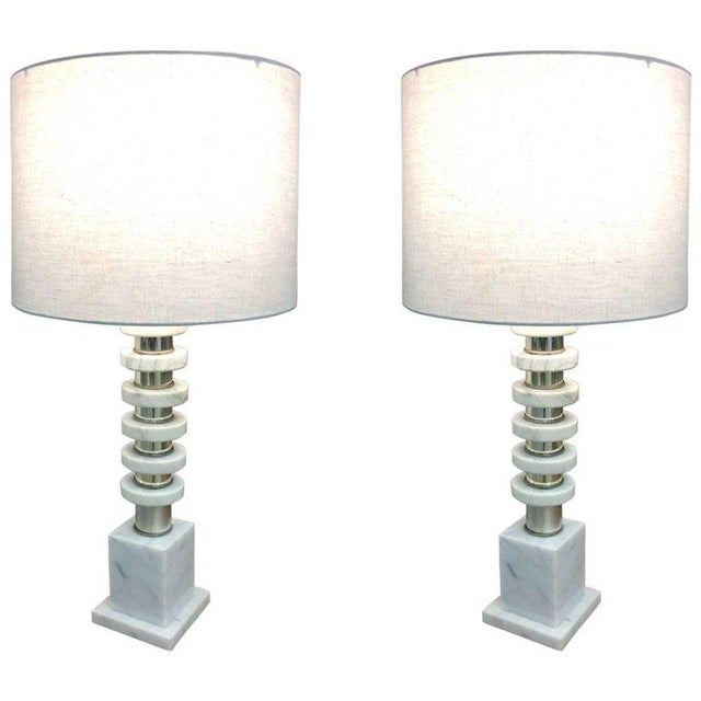 Italian Mid-Century Modern Marble & Chrome Lamps - a Pair For Sale In Philadelphia - Image 6 of 6