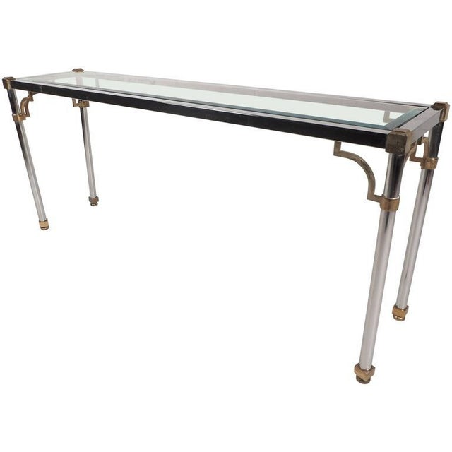 Mid-Century Modern Maison Jansen Style Mid-Century Modern Chrome & Brass Console Table For Sale - Image 3 of 8