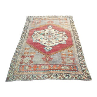 Antique Handmade Anatolian Turkish Area Rug- 4′3″ × 7′5″ For Sale