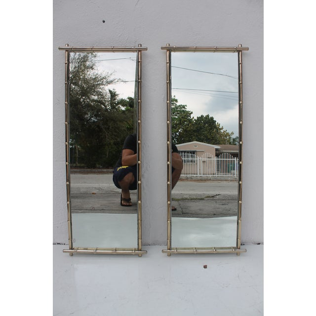 George Koch Faux Bamboo Wall Mirrors - A Pair - Image 2 of 8