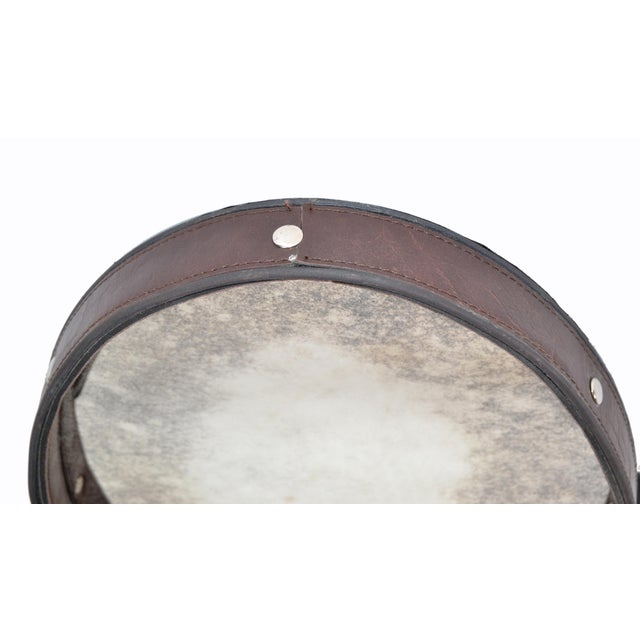 Metal Jacques Adnet Style 1950s Hand-Crafted Brown Leather & Antique Glass Wall Mirror - a Pair For Sale - Image 7 of 13