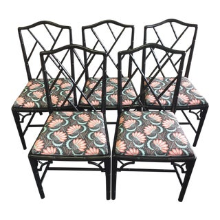 1970s Asian Modern Chippendale Reupholstered Black Wood Dining Chairs - Set of 5