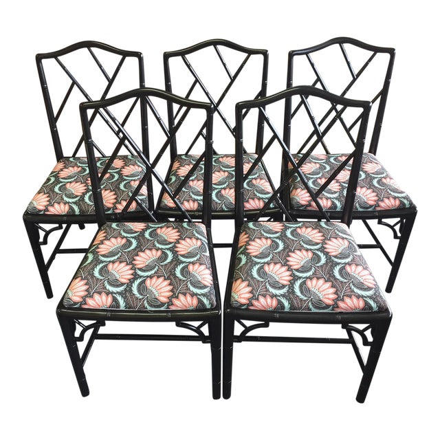 1970s Asian Modern Chippendale Reupholstered Black Wood Dining Chairs - Set of 5 For Sale