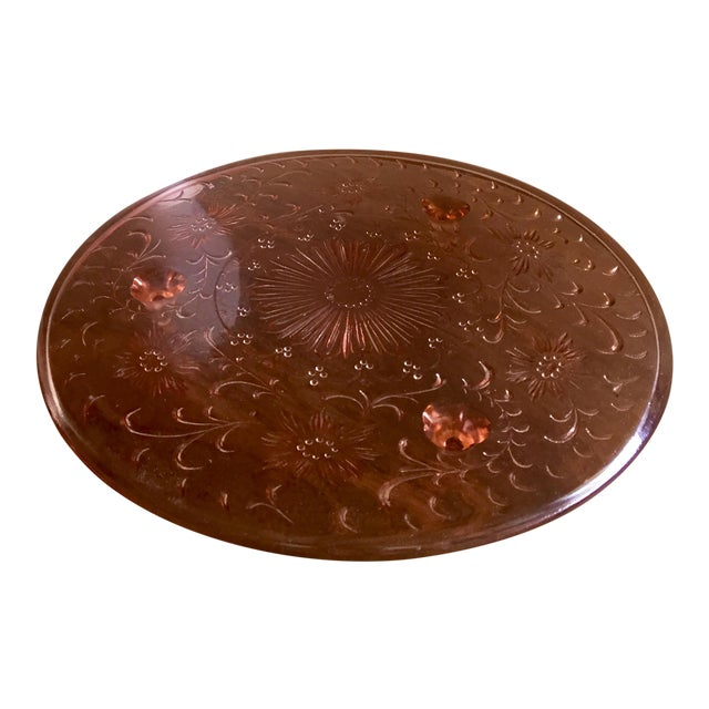 1930s Pink Depression Glass Cake Plate - Image 1 of 8