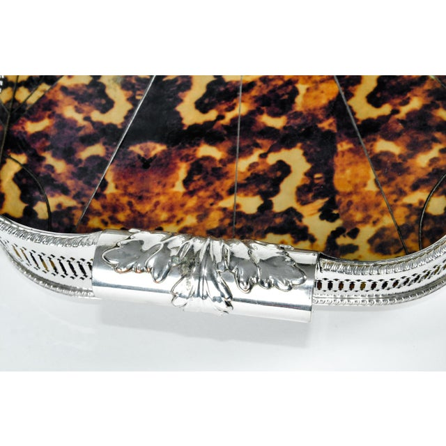 English Oblong Faux Tortoise Shell Silver Plated Footed Tray For Sale In New York - Image 6 of 7