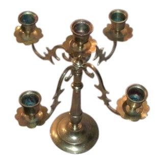 Vintage Five Branch Brass Tabletop Candelabra For Sale