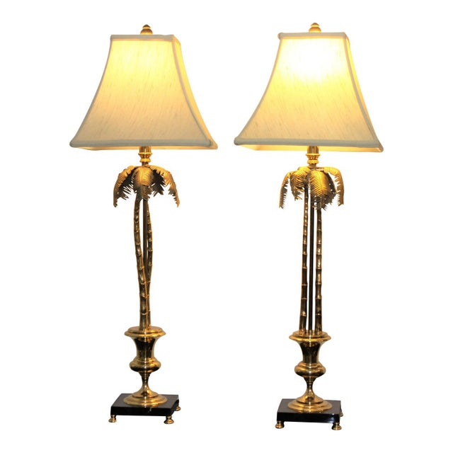 Vintage Maison Jansen Style Palm Tree Table Lamps - a Pair For Sale - Image 11 of 11