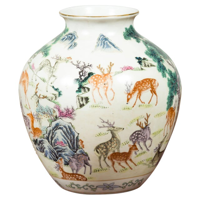 1920s Chinese Porcelain Vase with Gilt Accents, Deer and Mountain Motifs For Sale - Image 13 of 13
