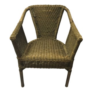 Vintage Mid-Century Wicker Bamboo and Rattan Chair For Sale