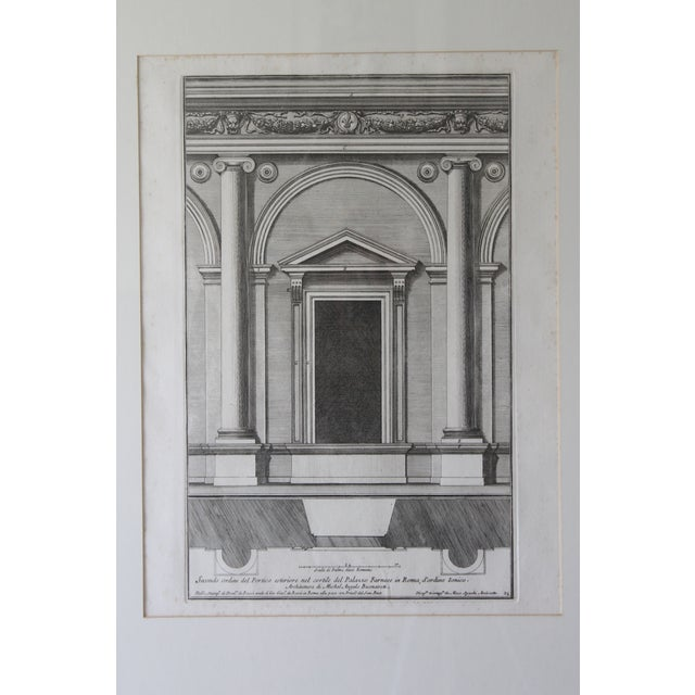 Traditional Early 19th Century Antique Architectural Portico of the Palace Fornese Rome Print For Sale - Image 3 of 11