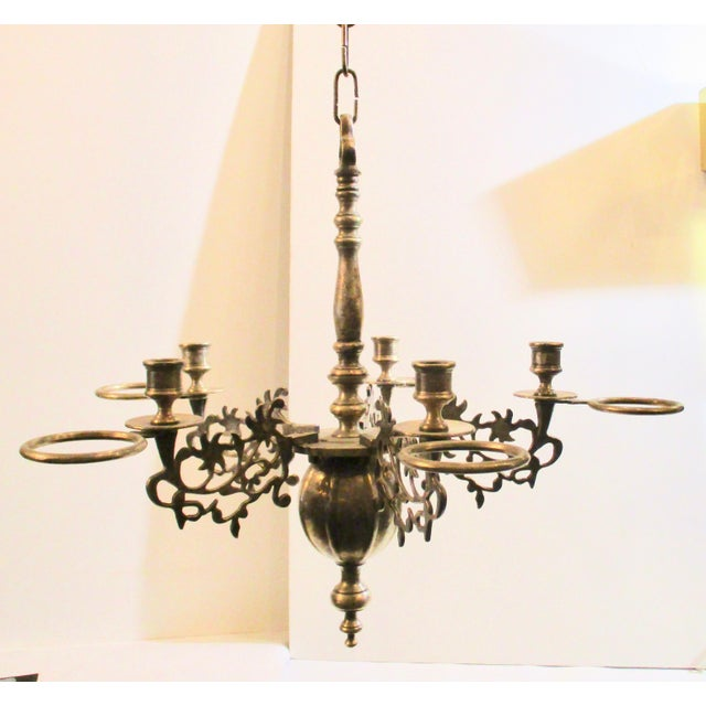 17th-century style oil and candle chandelier in silvered bronze. French country reproduction from the 1920s in a very...