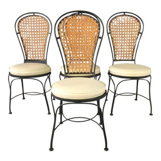 Black Iron & Caned Back Bistro Chairs - Set of 4