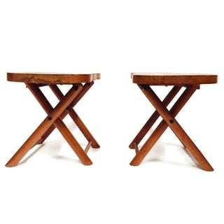 Mid Century Wood Camp Stools Foldable - a Pair Preview