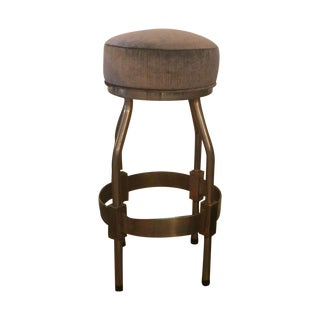 1960s Brass and Nickel Barstools - Set of 3 For Sale