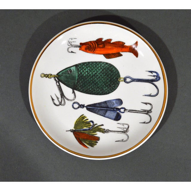 White Piero Fornasetti La Pesca Fishing Lures Coaster Set With Original Box For Sale - Image 8 of 13