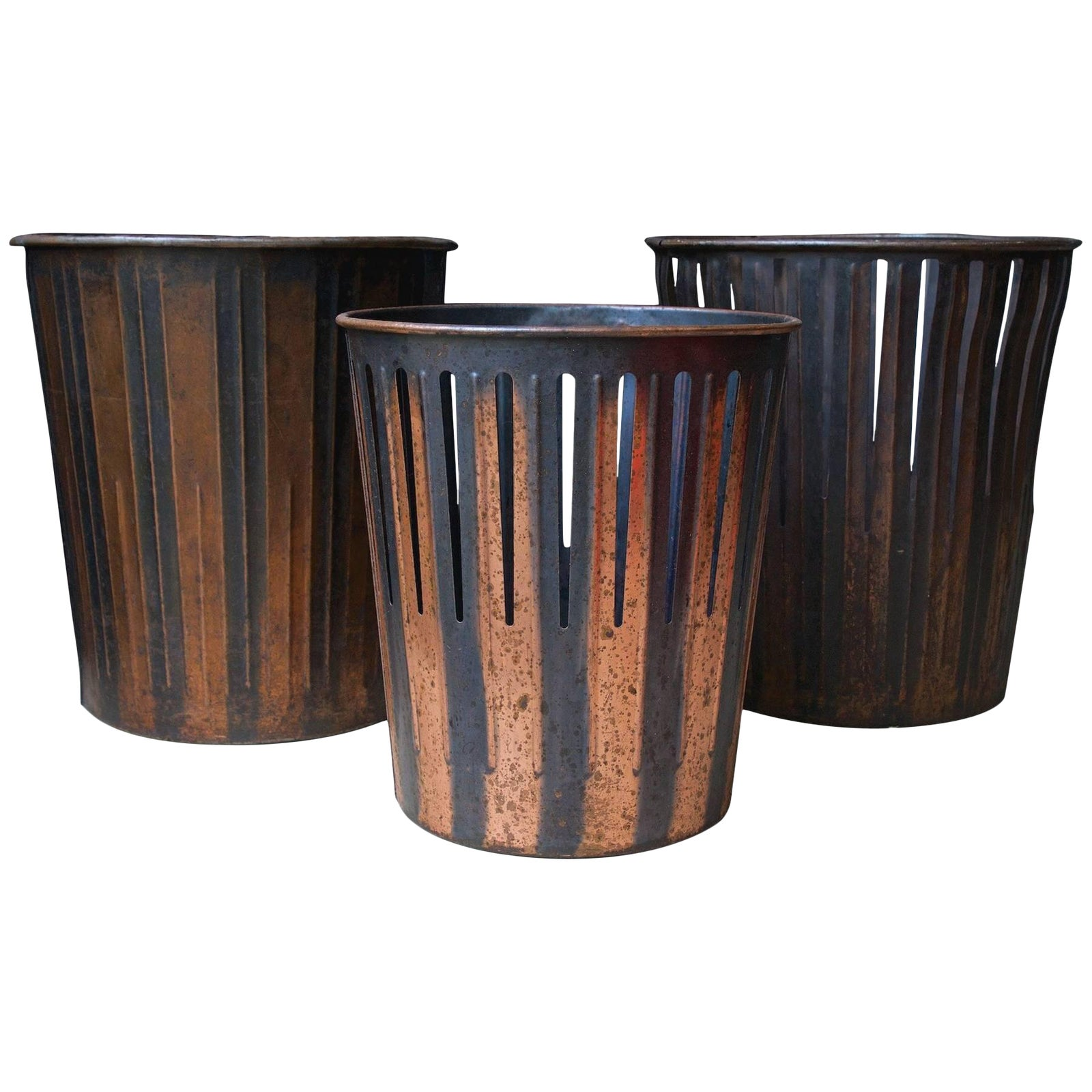 Japanned finished copper factory office trash cans wastebaskets chairish