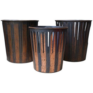 Japanned Finished Copper Factory Office Trash Cans Wastebaskets For Sale
