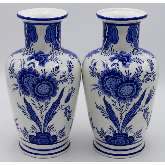 Delft Mid-20th Century Blue and White Floral Dutch Delft Ginger Jar and Vase Set For Sale - Image 4 of 13