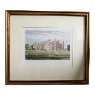 """1880 English Traditional Estate Print, """"Burghley House"""" For Sale"""