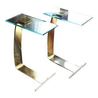 Dia Cantilevered Brass and Glass Side Tables - a Pair For Sale