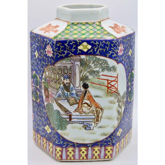 19th Century Large Antique Chinese Enamel Ceramic Vase For Sale - Image 5 of 13