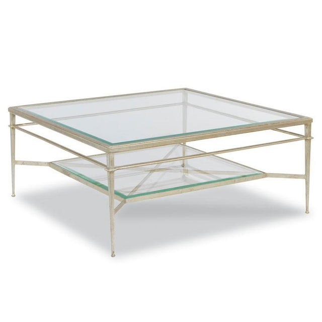"""A lovely table inspired by 19th Century French originals with a square ½"""" beveled glass top that is fitted inside a top..."""