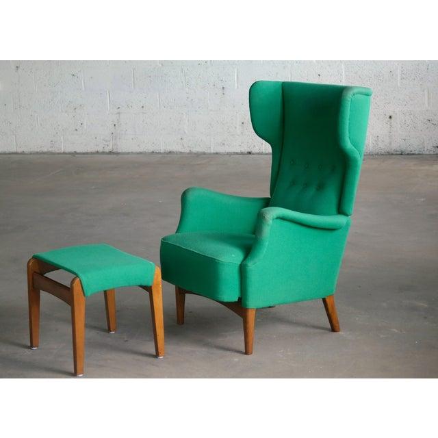 Fritz Hansen Fritz Hansen 1950s Danish Wingback Chair Model 8023 With Ottoman For Sale - Image 4 of 12