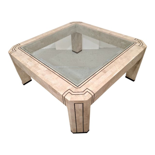 Alexvale Furniture - Tessellate Stone Cocktail Table. W/ Brass Trim, Vintage For Sale