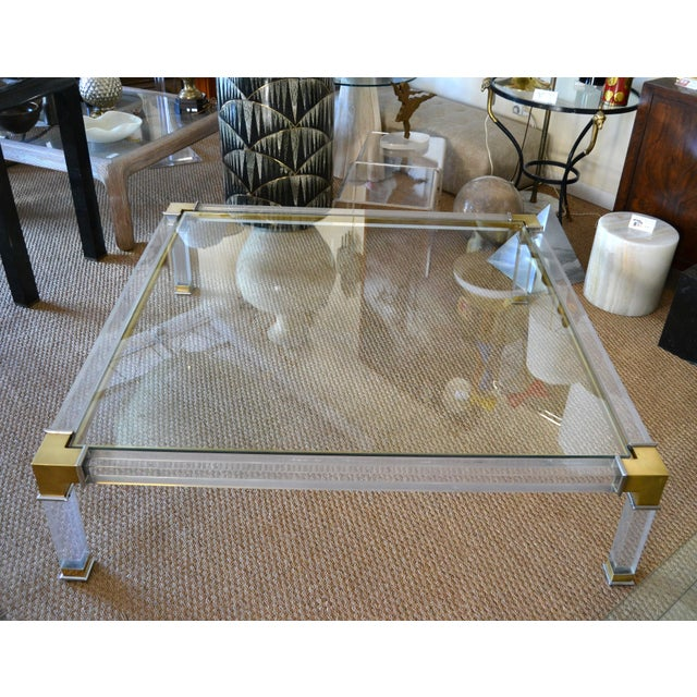 Early Charles Hollis Jones Hollywood Regency Acrylic Bronze & Chrome Glass Table For Sale - Image 13 of 13